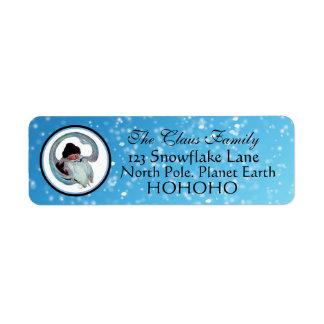 Copos de nieve azules Wilcox Smith de Papá Noel Etiqueta De Remite