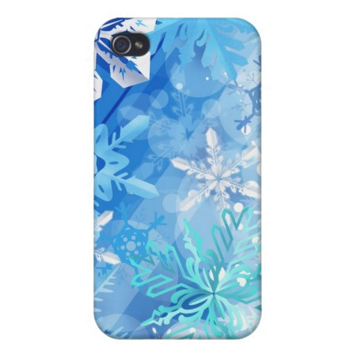 Copos de nieve azules y blancos del invierno iPhone 4 carcasa