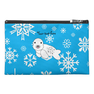 Copos de nieve azules y blancos del sello lindo