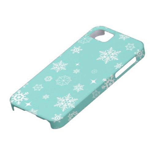 Copos de nieve azules y blancos del trullo iPhone 5 carcasa