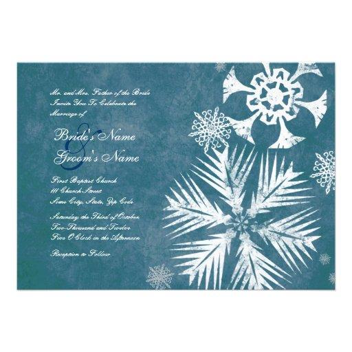 Copos de nieve azules y blancos que casan invitaci anuncios
