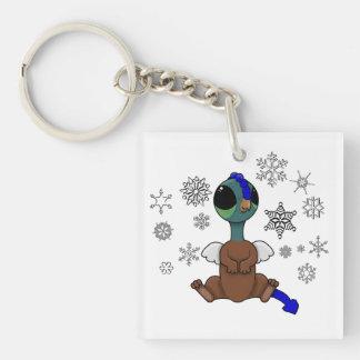 Copos de nieve azules y verdes de Squite (bolsillo Llavero Cuadrado Acrílico A Doble Cara