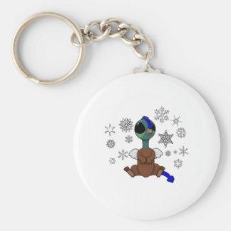 Copos de nieve azules y verdes de Squite (bolsillo Llavero Redondo Tipo Pin