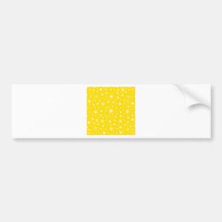 Copos de nieve - blanco en amarillo de oro etiqueta de parachoque