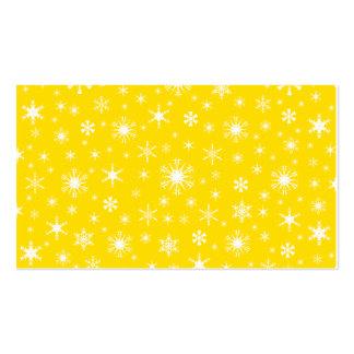 Copos de nieve - blanco en amarillo de oro plantillas de tarjeta de negocio