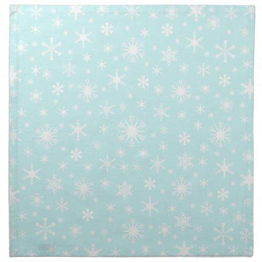Copos de nieve - blanco en azul claro servilleta