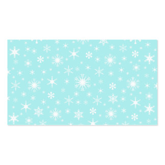 Copos de nieve - blanco en azul claro tarjeta de visita
