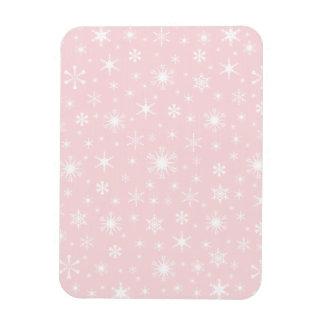 Copos de nieve - blanco en pálido - rosa imanes