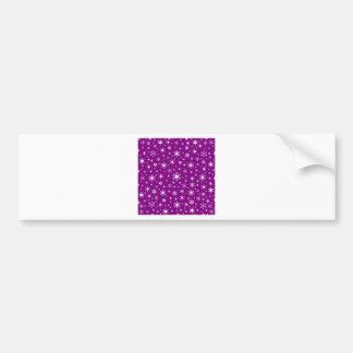 Copos de nieve - blanco en púrpura pegatina de parachoque
