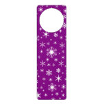 Copos de nieve - blanco en púrpura colgador para puerta