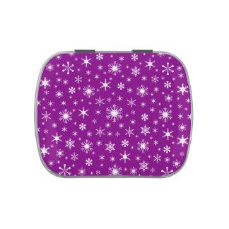 Copos de nieve - blanco en púrpura jarrones de dulces