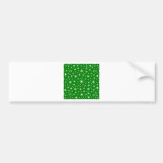 Copos de nieve - blanco en verde pegatina de parachoque