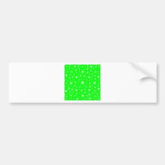 Copos de nieve - blanco en verde eléctrico etiqueta de parachoque