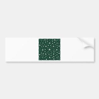 Copos de nieve - blanco en verde oscuro pegatina de parachoque