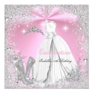 Copos de nieve blancos 2 del invierno del rosa del invitación 13,3 cm x 13,3cm