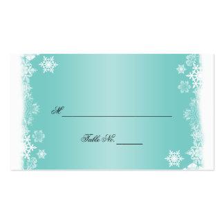Copos de nieve blancos azules claros que casan tar plantillas de tarjeta de negocio