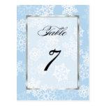 Copos de nieve blancos azules del número de la postal