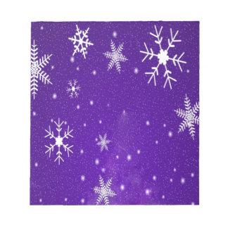 Copos de nieve blancos con el fondo Azul-Púrpura Bloc