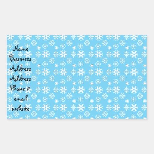 Copos de nieve blancos en azul rectangular pegatinas