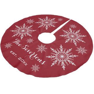 Copos de nieve blancos en rojo falda para arbol de navidad de poliéster