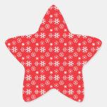 Copos de nieve blancos en rojo pegatina forma de estrella personalizadas