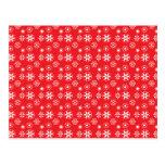 Copos de nieve blancos en rojo tarjetas postales