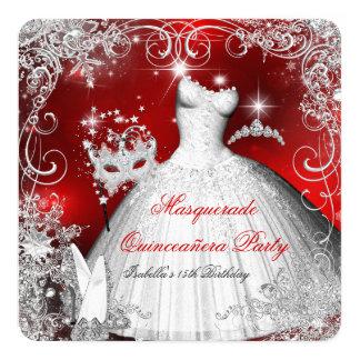 """Copos de nieve blancos rojos 2 de la mascarada de invitación 5.25"""" x 5.25"""""""