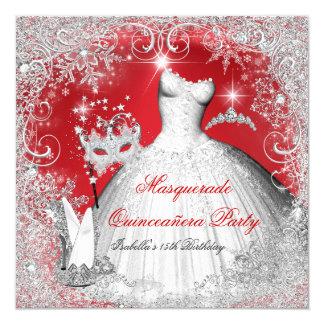 """Copos de nieve blancos rojos de la mascarada de invitación 5.25"""" x 5.25"""""""