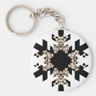 Copos de nieve blancos y negros del arte del fract llavero redondo tipo pin