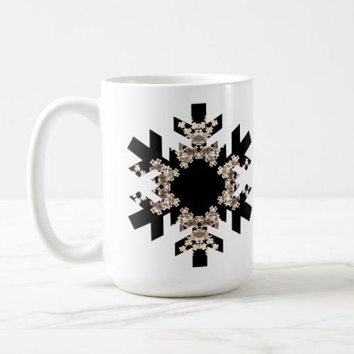 Copos de nieve blancos y negros del arte del taza de café