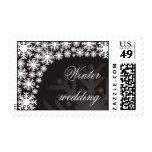 Copos de nieve blancos y negros - sello del boda d