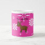 Copos de nieve blancos y rosados del reno lindo taza grande