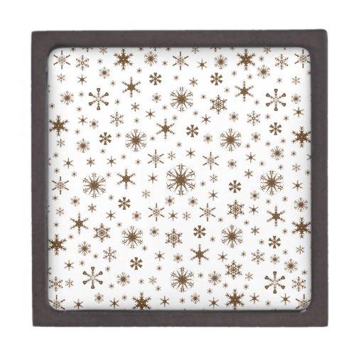 Copos de nieve - Brown oscuro en blanco Cajas De Joyas De Calidad