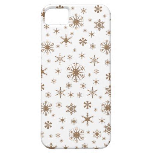 Copos de nieve - Brown pálido en blanco iPhone 5 Case-Mate Cobertura
