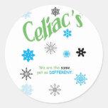 Copos de nieve celiacos etiquetas redondas