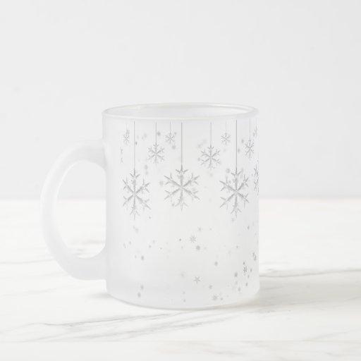 Copos de nieve colgantes tazas