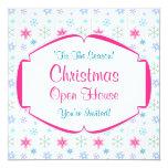 Copos de nieve coloridos de la casa abierta del invitación personalizada