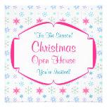 Copos de nieve coloridos de la casa abierta del na invitación personalizada