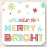 Copos de nieve coloridos de los Navidad Felices y  Posavasos De Bebidas