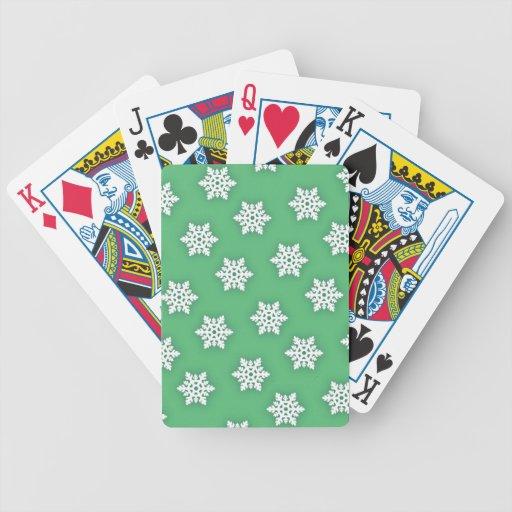 Copos de nieve complejos contra suavemente verde baraja cartas de poker