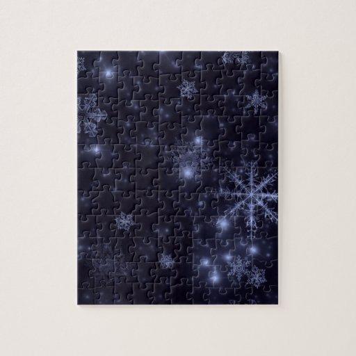 Copos de nieve con el fondo azul de medianoche rompecabeza con fotos