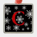 Copos de nieve cones monograma adorno cuadrado plateado