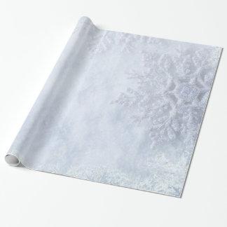 Copos de nieve congelados navidad papel de regalo
