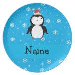Copos de nieve conocidos personalizados del azul d platos