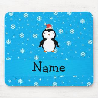 Copos de nieve conocidos personalizados del azul d tapete de raton