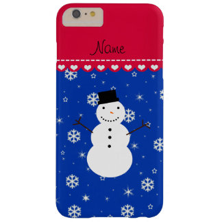 Copos de nieve conocidos personalizados del azul funda de iPhone 6 plus barely there