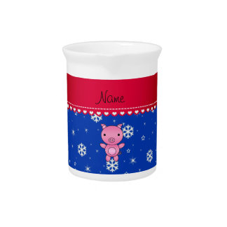 Copos de nieve conocidos personalizados del azul jarras para bebida