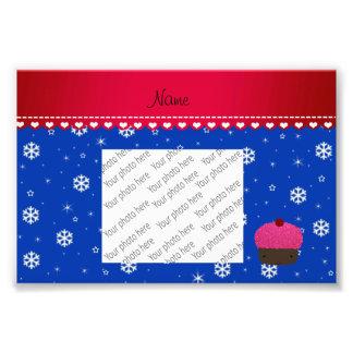 Copos de nieve conocidos personalizados del azul impresión fotográfica