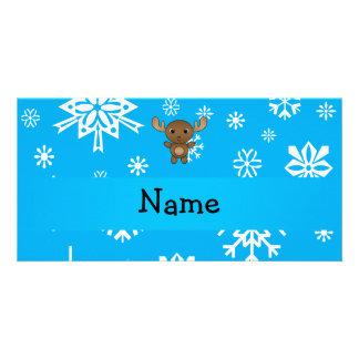 Copos de nieve conocidos personalizados del azul tarjetas personales