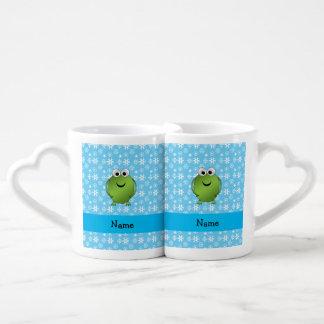 Copos de nieve conocidos personalizados del azul taza para enamorados